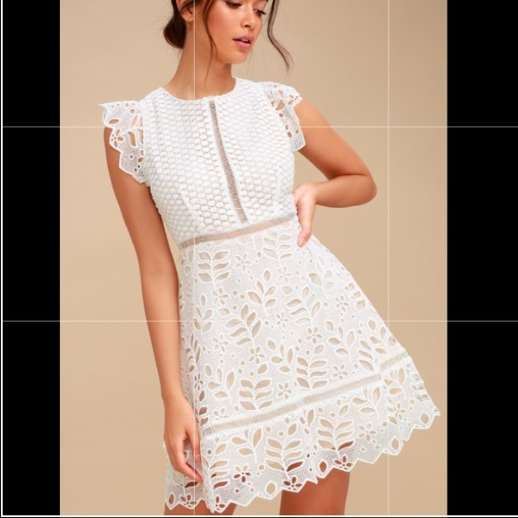 Bb Dakota White Crochet Lace Dress